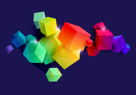 Abstract colorful composition with 3d cubes Foto de archivo - 108299024