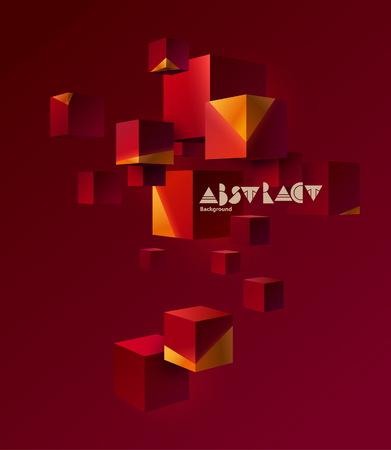 Abstract composition with 3d red cubes