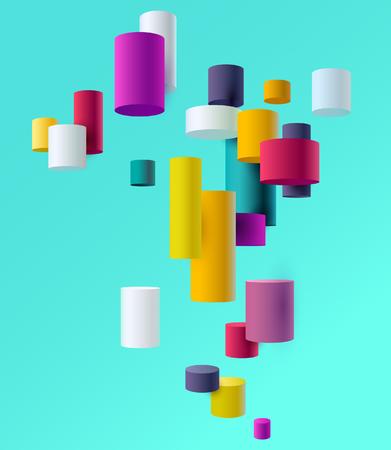 Kolorowe cylindry 3D Ilustracje wektorowe