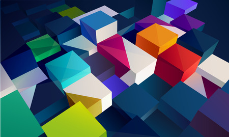 Background of 3d colorful cubes