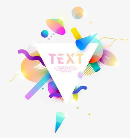 Composition of 3D primitive geometric shapes. Colorful poster design.