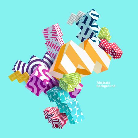 3D multicolored primitive forms