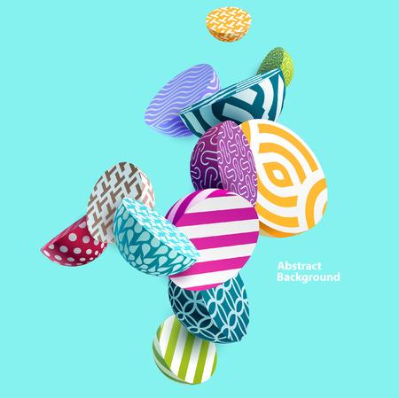 Elementos geométricos multicolores 3D. Ilustración de vector
