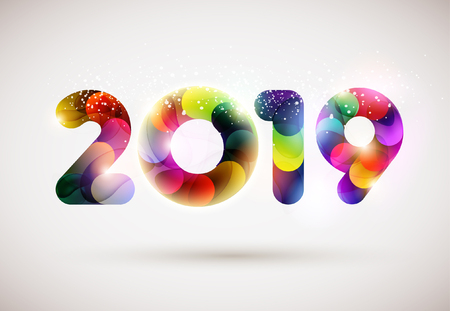 New year 2019. Colorful lettering design. Stock Illustratie