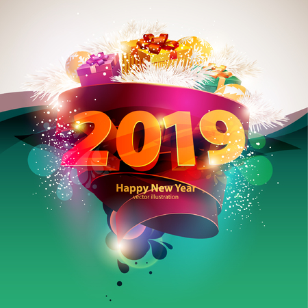 Happy new year 2019. Poster template.