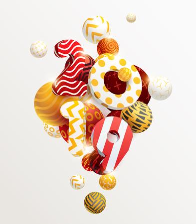 Año nuevo 2019. Figuras 3D y bolas decorativas.