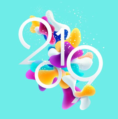Nuovo anno 2019. 3D design colorato. Vettoriali