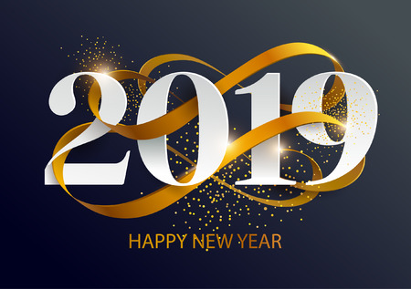 New Years 2019. Greeting card with date and ribbon Foto de archivo - 111585049