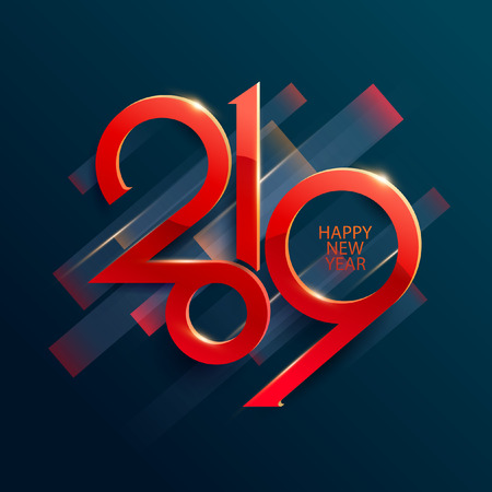 New year 2019. Lettering design.