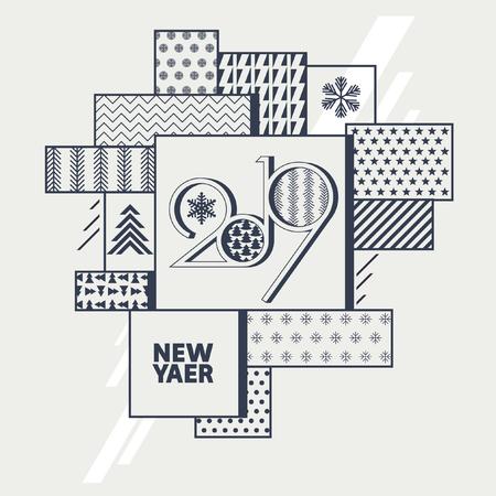 Greeting card. New year 2019. Stock Illustratie