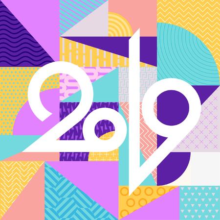 Minimalistic new year greeting card. Stock Illustratie
