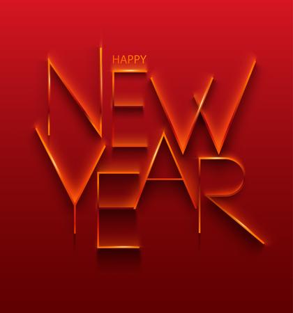 Elegant stylized inscription. Happy New Year. Ilustração