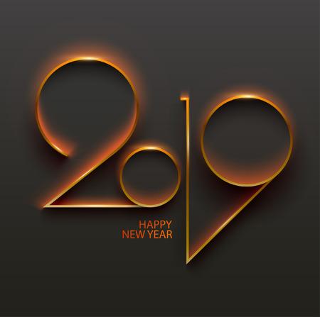New year 2019. Design greeting card.