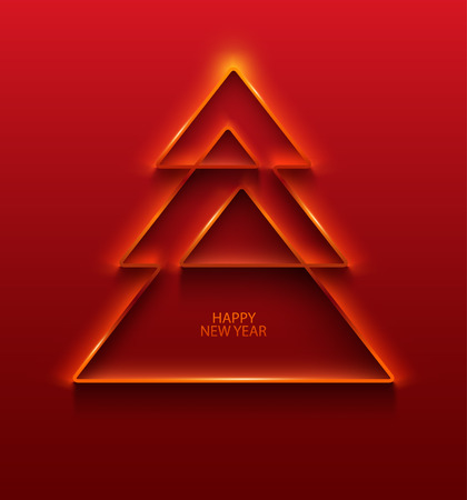 Stylized Christmas tree. Red greeting card.  イラスト・ベクター素材