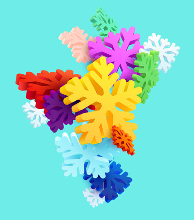 Colorful snowflakes on bright blue background