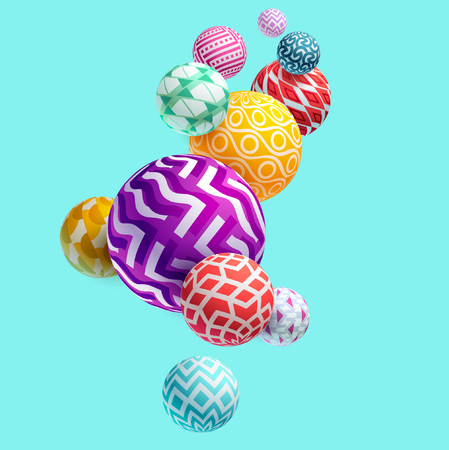 Wielokolorowe kule ozdobne 3D Ilustracje wektorowe