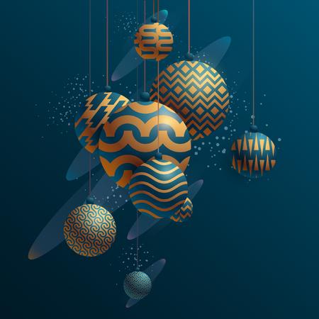 New year balls on dark background Ilustrace