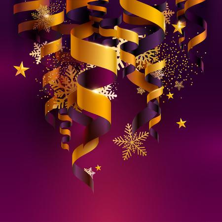 Cintas doradas sobre fondo violeta con copos de nieve y estrellas. Ilustración de Navidad. Ilustración de vector