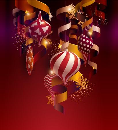 Christmas balls with ribbons, stars and snowflakes