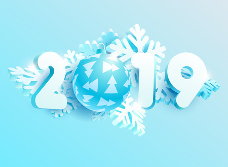 New year 2019. Design greeting card with snowflakes, balls and numbers
