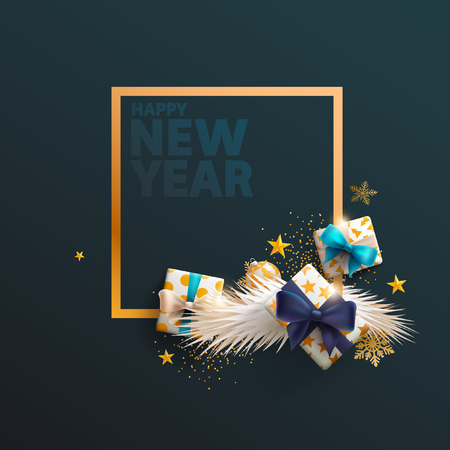 Happy New Year greeting card with place for text Ilustrace