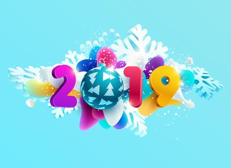New year 2019.Typographic 3D design.