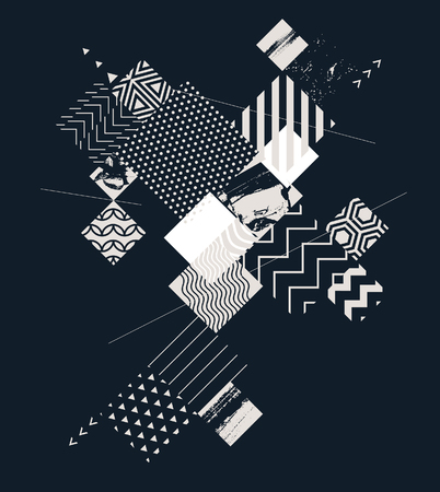 Abstract geometric composition with decorative squares Ilustrace