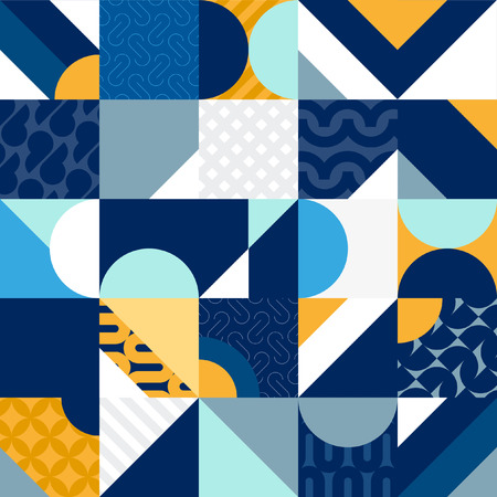 Abstract multicolored patten of geometric primitives Ilustrace