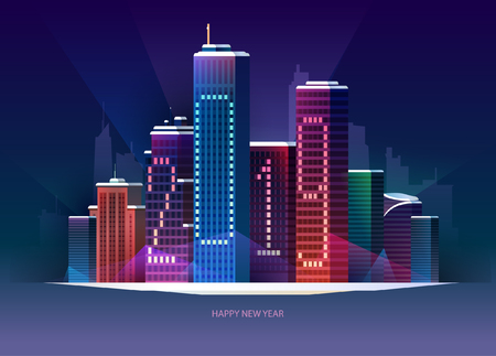 New Years night city. Vector greeting card 2019.