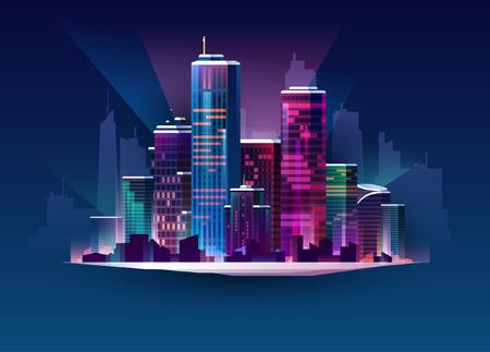 Night cityscape in neon light. Vector illustration,