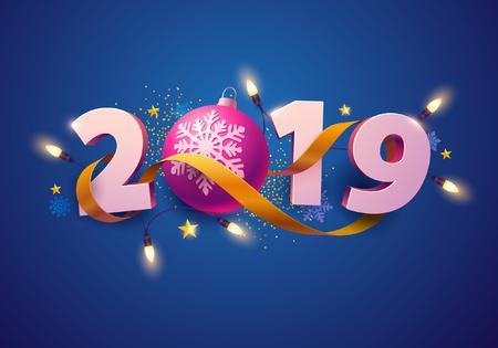 New Year greeting card 2019.