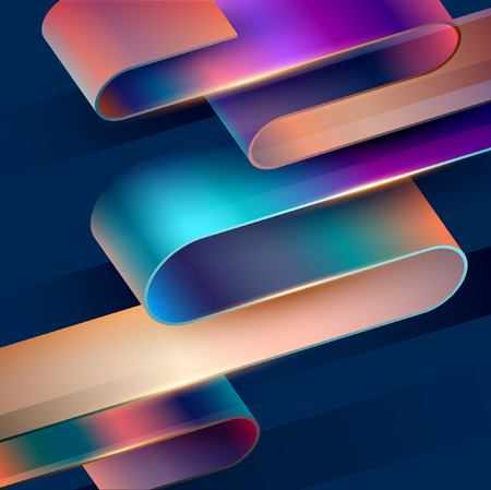 Abstract background. Colorful 3D tape on dark background 向量圖像
