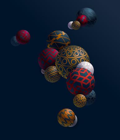 Multicolored 3D decorative balls Foto de archivo - 119058225