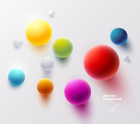 Multicolored balls on white background. Top view Ilustrace