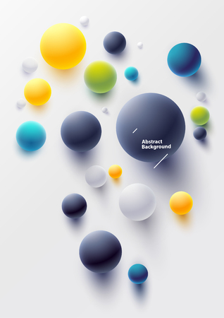 Colorful balls on white background. Top view