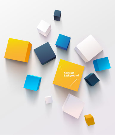 Multicolored cubes on white background. Top view Ilustrace