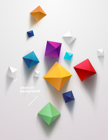 Multicolored pyramids on white background. Top view Ilustrace