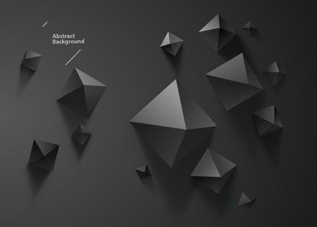 Black pyramids on black background. Top view Ilustrace