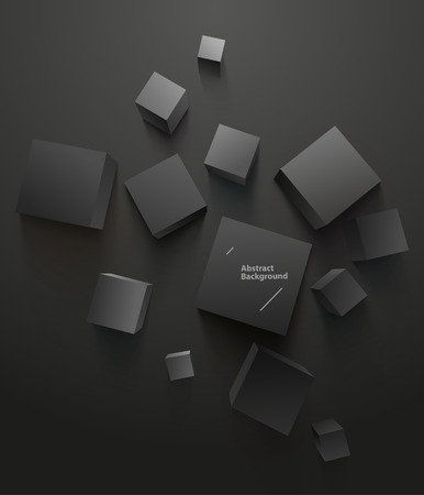 Black cubes on black background. Top view