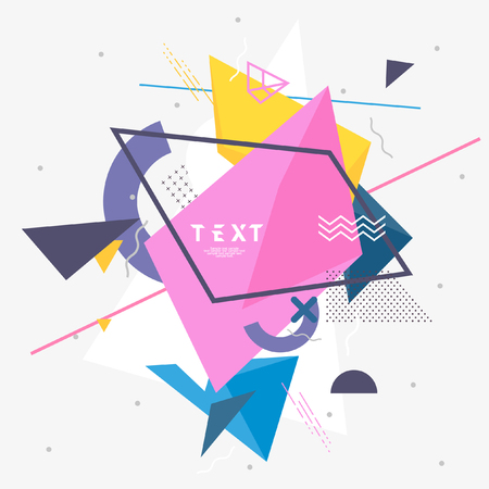 Abstract geometric composition with frame for text