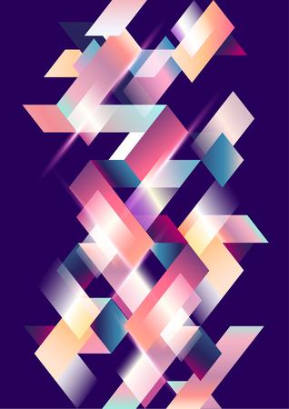 Geometric background. Bright gradient stripes on dark background.