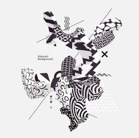 3D geometric shapes in a monochrome pattern Imagens - 126160210
