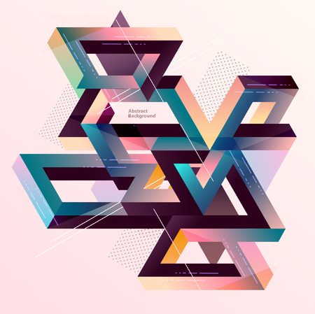 Isometric geometric multicolored composition