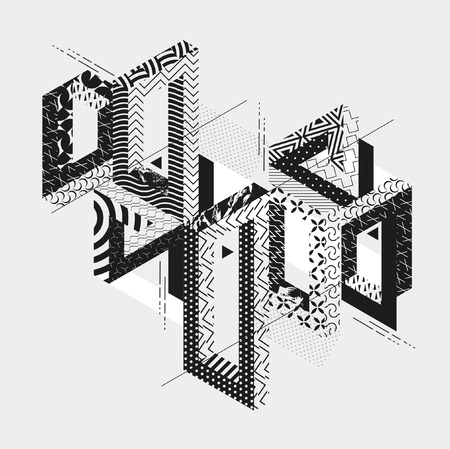 Abstract composition of geometric ornamental shapes