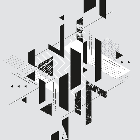Abstract composition of geometric primitive shapes Illustration