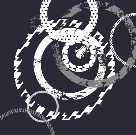 Black background with white decorative circles