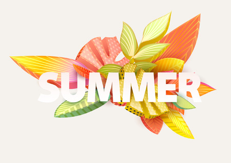 Summer - word. Floral typographic poster.