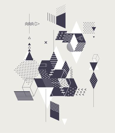 Abstrakte Komposition geometrischer primitiver Formen Vektorgrafik