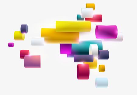 Multicolored geometric shapes on white background Ilustrace