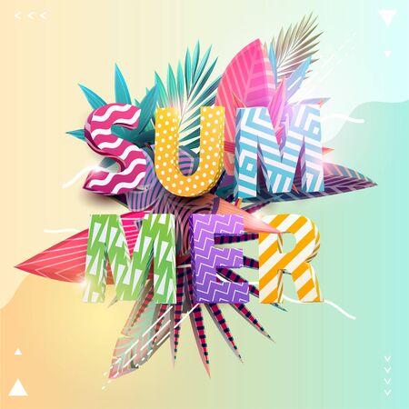 Floral summer poster design. Colorful tropical leaves Banco de Imagens - 130850061
